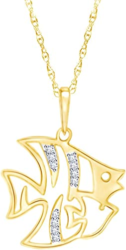 AFFY 14k Gold Over Sterling Silver Round White Cubic Zirconia Fish Bone Pendant Necklace