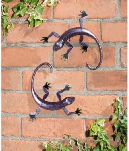 2 x pared arte metal decorativo 3d adorno de jardín para colgar Gecko Lagarto Indoor/Outdoor Deco morado: Amazon.es: Jardín