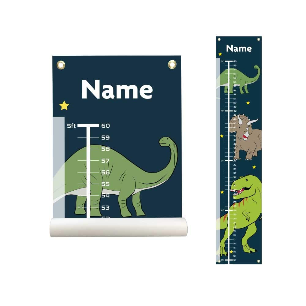 Height Chart Growth Chart Banner Personalized Kids Canvas Growth Chart Baby Dino