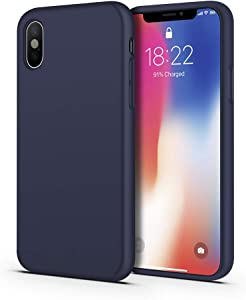 ImpactStrong iPhone Xs Case/iPhone X Case, Silicone Heavy Duty Liquid Gel Shockproof Case with Soft Microfiber Cloth Cushion Compatible with iPhone X/XS (5.8 inch) - Navy Blue