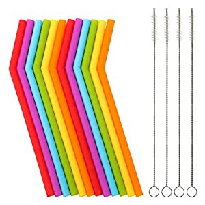 """Reusable Silicone Straws for Toddlers & Kids - 12 pcs Flexible Short Drink 6.7"""" Straws for 6-12 oz Yeti/Rtic/Ozark Tumblers & 4 Cleaning Brushes - BPA Free, Eco-Friendly,no Rubber Tast"""