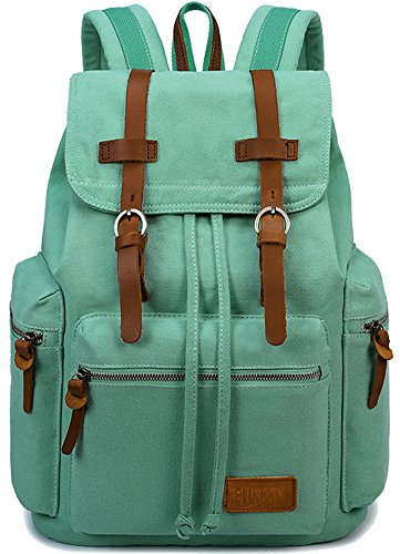 BLUBOON Women Canvas Vintage Backpack Leather Casual Bookbag Girls Rucksack (Mint Green)