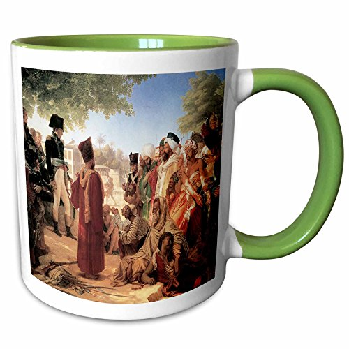(3dRose BLN Middle Eastern and Northern African Fine Art Collection - Bonaparte Pardoning the Insurgents in Cario by Pierre Nacrisse Guerin - 15oz Two-Tone Green Mug (mug_127445_12))