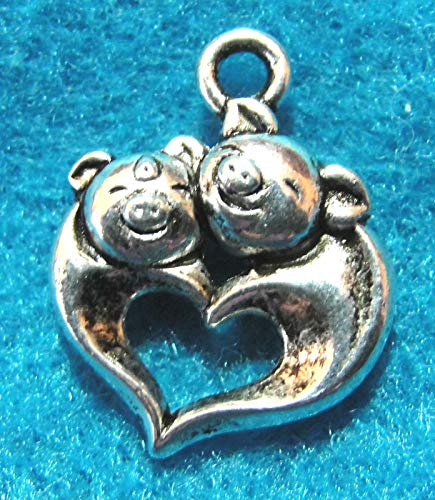 10Pcs. Tibetan Silver Cute Pig Heart Charms Pendants Drops Jewelry Finding Charms DIY Crafting by WCS