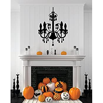 Chandelier Halloween Decorations Black Melting Candles Vinyl Wall Decal    Halloween Fun   Fall Decor