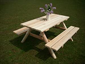 White Cedar Log Picnic Table with Attached Bench - 6 foot
