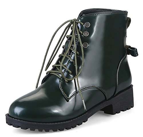 Heel Ankle Mid High Chunky Women's Lace New Easemax Up Boots Green xqC4YfpFw