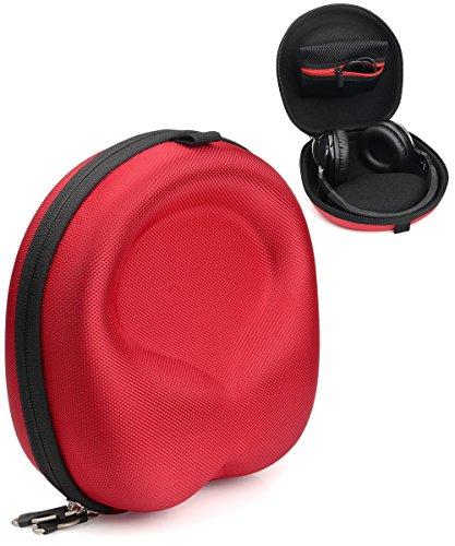 Red Headphone Case for Beats EP, Studio3, Jabra Move, Skullcandy Hesh3, Hesh 2, Hesh 2 Wireless, Grind, Crusher, Uproar; MPOW 059, H1, Thor, H5, Acekool, Dylan, Picun P7, BestGot, Sound Intone CX-05