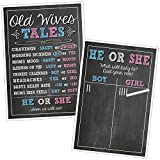 Katie Doodle GR003 Premium Baby Old Wives Tales Cast Your Vote Poster Set, Pregnancy Gender Reveal Party Decoration for Boys and Girls, 12x18 inches, Black