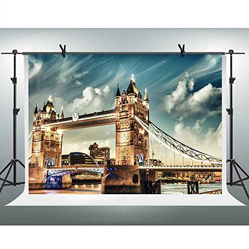 FHZON 10x7ft London's Tower Bridge Photography Backdrop Night Bright Light Background Themed Party YouTube Backdrops Photo Booth Studio Props FH1351 -
