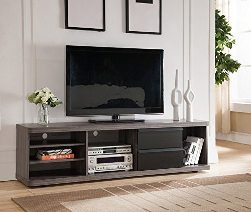 Price comparison product image Smart home 151357 Entertainment Center TV Stand (70 Inch,  Distressed Grey & Black)