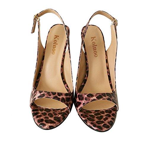 Kolnoo - Zapatos con tacón Mujer leopardo
