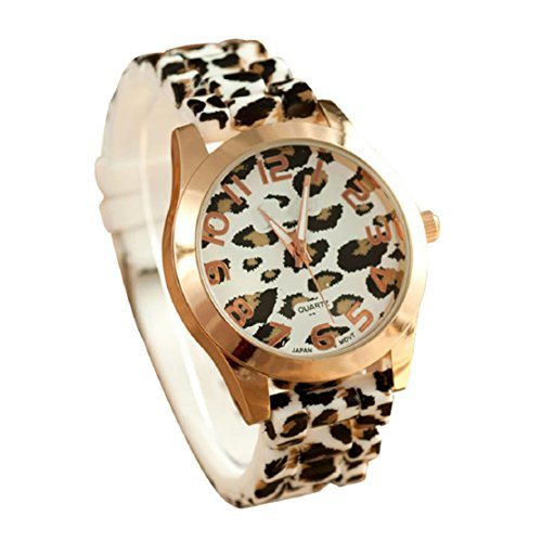 FEITONG Klassischer Mode Unisex Leopard Silikon Gelee Gel Quarz Analoge Armbanduhr Weiß Neu