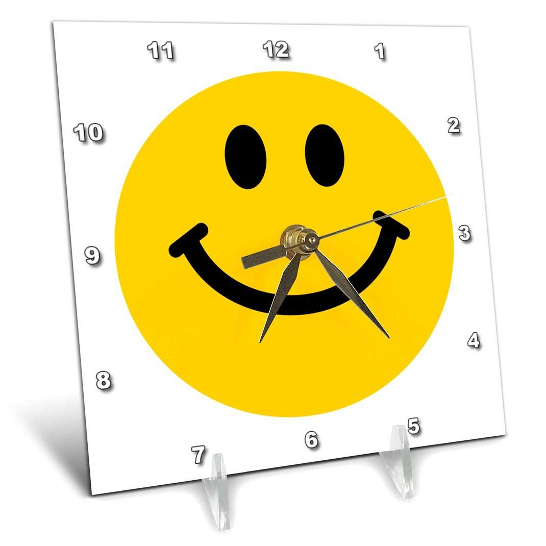6 by 6-Inch 3dRose dc/_76653/_1 Yellow Smiley Face Cute Traditional Happy Smilie 1960S Hippie Style Smiling on White Desk Clock