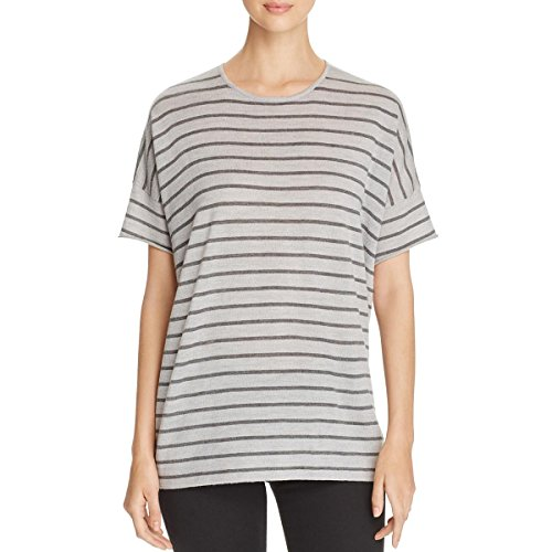 Eileen Fisher Womens Merino Wool Striped Pullover Sweater Gray (Striped Wool Pullover)