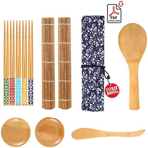 Sushi Making Kit, Sushi Maker Roller Tool for Beginners, Included Carbonized Bamboo Rolling Mats - Chopsticks Set - Rice Paddle - Spreader - Sauce Dishes
