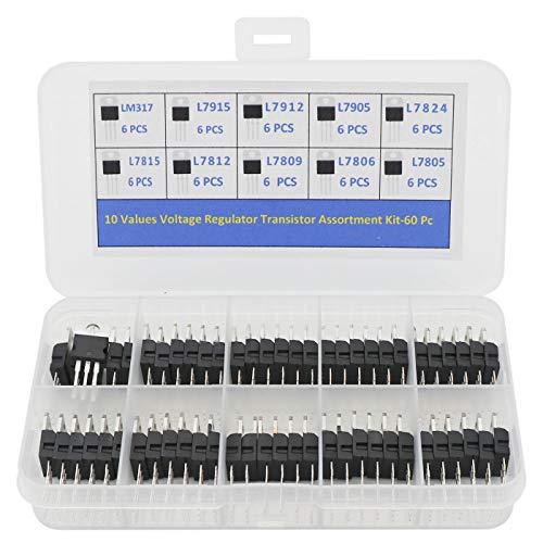 - 60PCS 10 Values Three Terminal Positive & Negative Voltage Regulator Transistor Kit T0-220 Package(L7805, L7806, L7809, L7812, L7815, L7824, L7905, L7912, L7915, LM317)