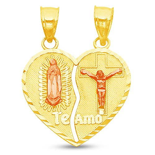 Jewel Tie Solid 14K Two Tone Rose and Yellow Gold Diamond-Cut Broken Heart Te amo Our Lady of Guadalupe Virgin Mary Jesus Pendant Charm 20x20 mm