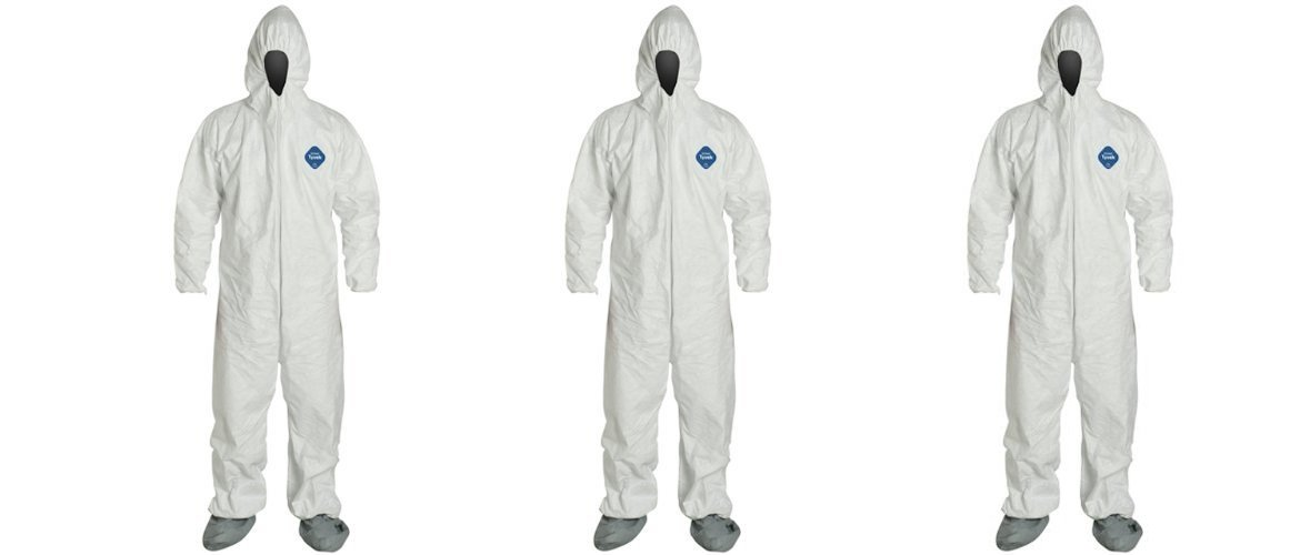 DuPont TY122S-XL-EACH Disposable Elastic Wrist, Bootie and Hood Tyvek Coverall Suit 1414, X-Large, White (3 PACK)