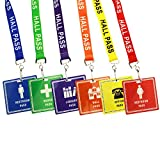 6 Pack - Student Hall Pass Lanyards with Unbreakable Card Passes & Safety Breakaway Lanyards (Hall, Bathroom, Library, Office & Nurse) - Classroom/School Supplies for Teachers by Specialist ID