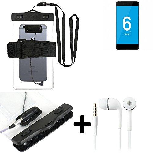 Estuche estanco al agua con entrada de auriculares para Vernee Mars Pro 4G + auricular incluido, transparente | Trotar bolsa de playa al aire libre caja brazalete del teléfono caso de cáscara bajo pla
