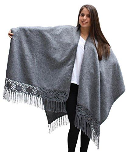 (Womens Soft Alpaca Wool Cape Poncho Ruana Shawl Crochet Edge With Roses (Gray))