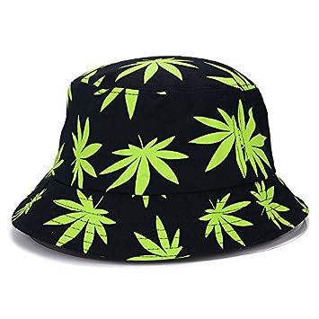 Amazon.com  VT BigHome Women men Vogue Hemp Leaf Design Basin caps Maple  leaves Brooklyn Bucket Hat Fisherman Summer Beach leisure Panama hats   Kitchen   ... 5933682486a2