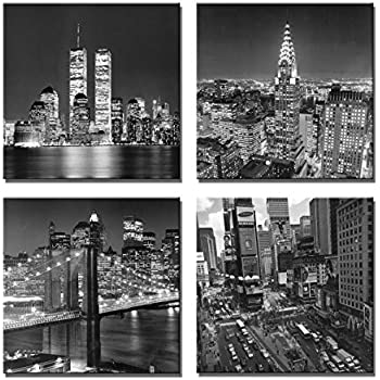 Yin art new york city canvas print black and white brooklyn bridgeempire state building