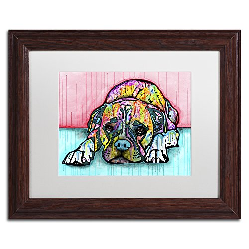 Pop Art Boxer - Lying Boxer by Dean Russo, White Matte, Wood Frame 11x14-Inch