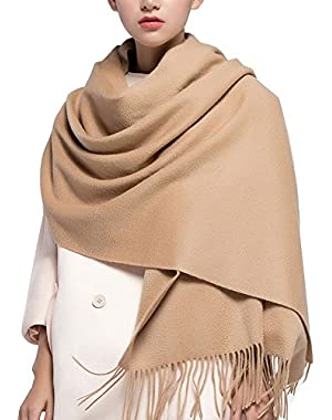 100% Lambswool Winter Scarf with Tassels for Women Oversized Scarf Wraps Wool Shawl