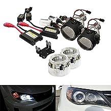 "iJDMTOY® 2.5"" Mini Bi-Xenon H1 Projector Lens w/Shroud plus H1 8000K HID Conversion Kit Combo Deal For Headlight Retrofit"