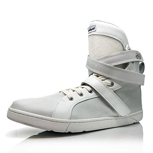 Heyday Footwear Customizable White Super Shift Bodybuilding High Top Sneakers - Size 14 D(M) US