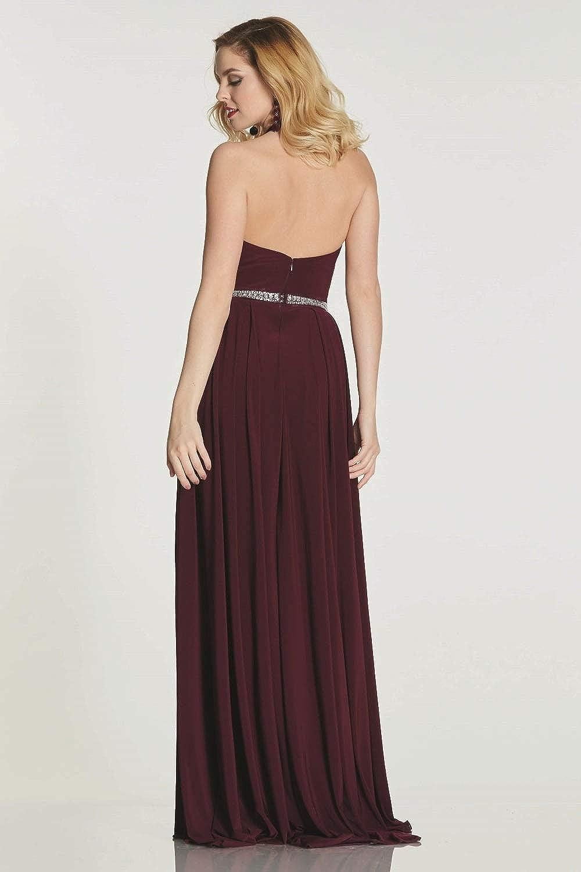Tiffanys Illusion Prom Wine Annabelle Halterneck Long/Short Dress: Amazon.co.uk: Clothing
