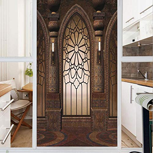 Decorative Window Film,No Glue Frosted Privacy Film,Stained Glass Door Film,Antique Myst Gate with Oriental Islamic Pattern and Curvings Artistic Design Illustration,for Home & Office,23.6In. by 47.2I