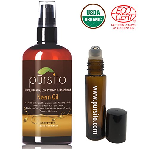 Organic Neem Oil and Treatment Roller, Pure Cold Pressed & Unrefined For Skin, Nails, Face, Hair & Scars Anti-Aging Moisturizer and Natural Insect Repellent Oil (4oz) USDA Organic by Pursito