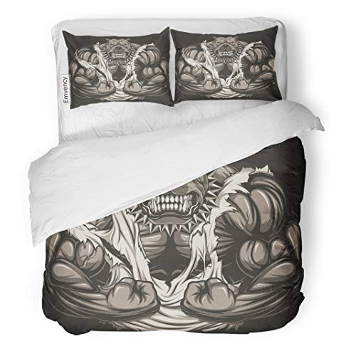 Semtomn Decor Duvet Cover Set Full/Queen Size Muscle Angry Dog Bodybuilder Scary Teeth Gym Strong Fitness 3 Piece Brushed Microfiber Fabric Print Bedding Set Cover