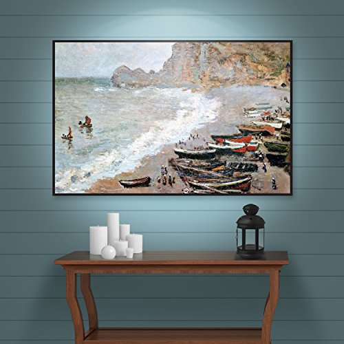ArtWall Claude Monet's Cliffside Boats Gallery Wrapped Floater Framed Canvas, 14 by 18