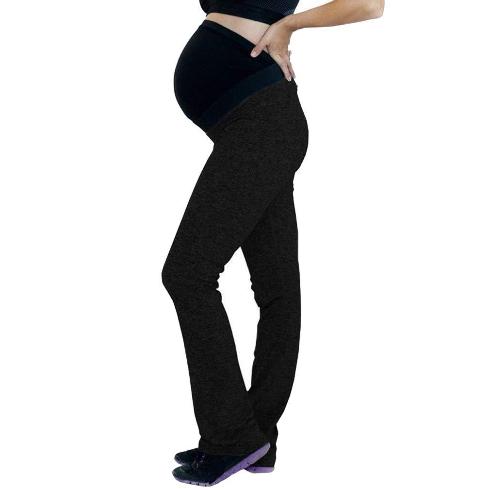 Mxssi Hosen f/ür Schwangere,Damen Schwangerschafts Jogginghose Sporthose mit Bauchband Volltonfarbe Gerade Hosen Elastischer Bauch Gamaschen