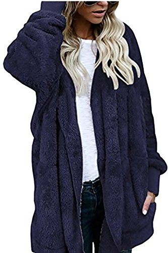 Yanekop Womens Winter Open Front Loose Hooded Fleece Sherpa Jacket Cardigan Coat(Bright (Fleece Lined Hooded Cardigan)