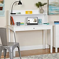 White Desk With Hutch by HOEN | Computer Shelf for Home Office | Laptop PC Organizer | Desktop Writing Table