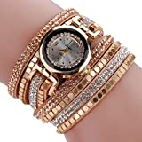 Ikevan Chic Leather Blocks Decorated Diamond Bracelet Ladies Fashion Watches