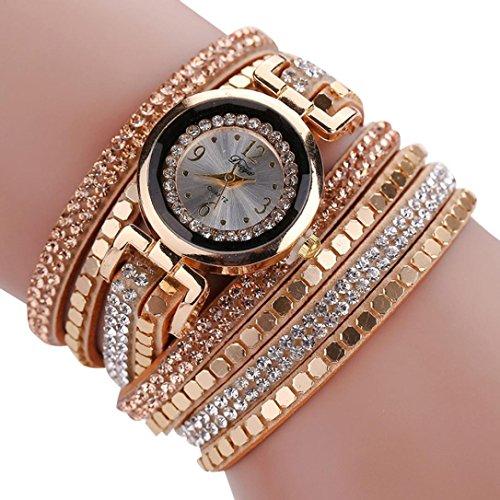 Ikevan Chic Leather Blocks Decorated Diamond Bracelet Ladies Fashion Watches (Ladys Gold Diamond Bracelet Watch)