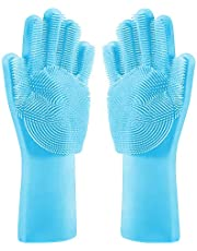 Dish Wash Gloves-Magic Silicone Dishwashing Gloves with Extended Scrubbers | Multipurpose Reusable Dish Wash Glove with Brush Bristles are Great for Kitchen, Bathroom, Pet Care