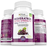 Resveratrol Supplement Maximum Strength 1200mg Boosts Energy - Healthy Blood Flow - Improves Mental Health - Helps in Stress - Anti-Inflammatory with Green Tea Discount
