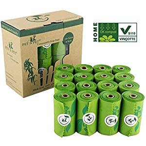 PET N PET 100% Biodegradable Poop Bags Compostable Dog Waste Bags 240 Counts Poop Bags Pet Clean up Bags Green Eco-Friendly Certified by EUR VINCOTTE Meet ASTM D6400 EN13432 Certified Earth Friendly