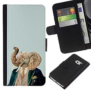 KingStore / Leather Etui en cuir / Samsung Galaxy S6 EDGE / Elefante Arte Pintura Retrato Noble Hombre