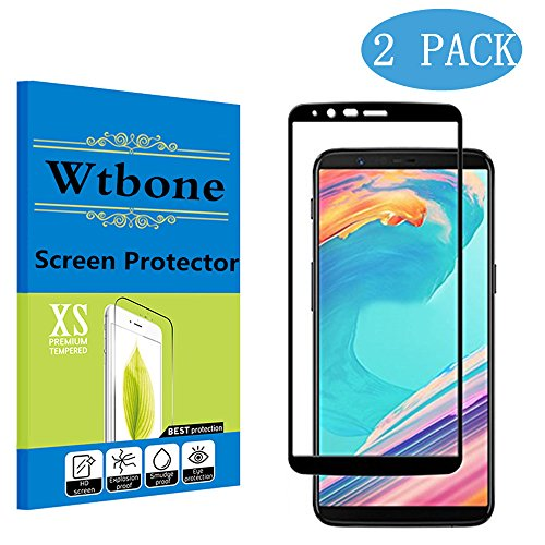 Black - [2 Pack] Oneplus 5T Screen Protector, Wtbone [0.3mm, 2.5D] [Bubble-Free] [9H Hardness] [Easy Installation] [HD Clear] Tempered Glass Screen Protector for Oneplus 5T