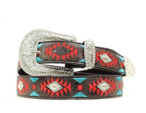 Blazin Roxx Women's Southwest Design Diamond Shaped Conchos Belt, Black, XL (Diamond Shaped Conchos)