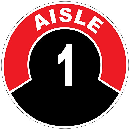 Aisle 1 Red Black Anti-Slip Floor Sticker Decal 17 in longest side (Store Aisle Signs)