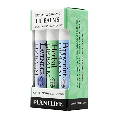 Plantlife Lip Balm - 3 Pack (Herbal, Peppermint, Lavender) - 1.6 oz